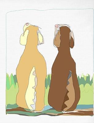 Chocolate Lab Drawing - Two Labradors by Gloria Avner