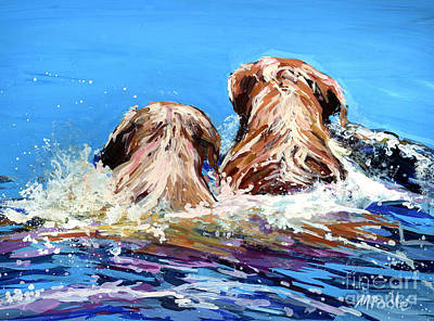 Water Retrieve Painting - Two Labs One Wake by Molly Poole