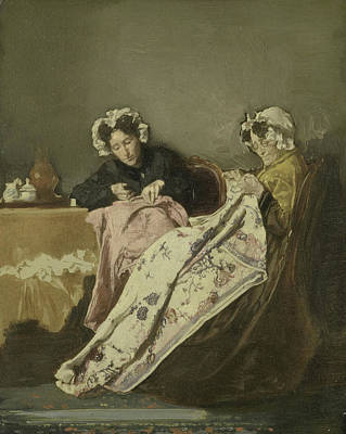 Two Ladies Drawing - Two Ladies Busy Sewing, Alexander Hugo Bakker Korff by Litz Collection