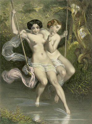 Feminine Drawing - Two Ladies On A Swing by Charles Bargue