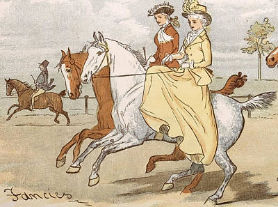 Two Ladies Drawing - Two Ladies Out Horseriding by English School