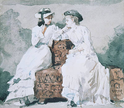 Winslow Homer Drawing - Two Ladies by Winslow Homer