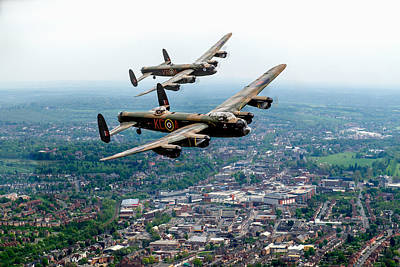 Digital Art - Two Lancasters Over High Wycombe by Gary Eason