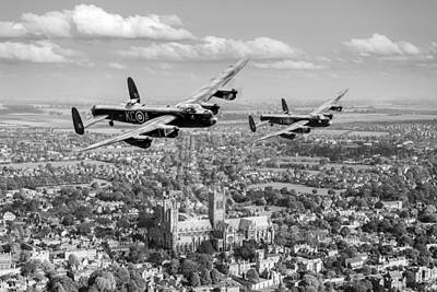 Digital Art - Two Lancasters Over Lincoln Cathedral Black And White Version by Gary Eason