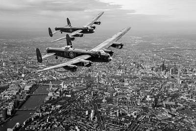 Digital Art - Two Lancasters Over London Black And White Version by Gary Eason