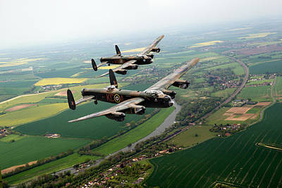 Digital Art - Two Lancasters Over The Upper Thames by Gary Eason