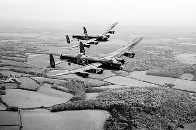 Digital Art - Two Lancs Over Bucks Black And White Version by Gary Eason