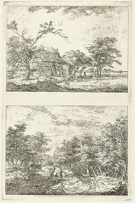 Dog In Landscape Drawing - Two Landscapes, Hermanus Van Brussel by Hermanus Van Brussel