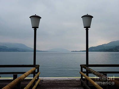 Art Print featuring the photograph Two Lanterns At The Jetty Pier Of Lake Attersee by Menega Sabidussi