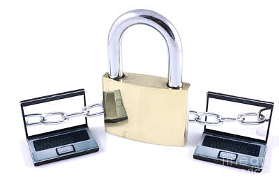 Two Laptops Chained To A Large Padlock Art Print by Simon Bratt Photography LRPS