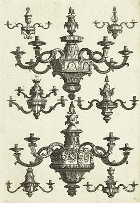 Two Large And Six Small Chandeliers, Danil Marot Art Print
