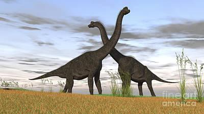 Brachiosaurus Photograph - Two Large Brachiosaurus In Prehistoric by Kostyantyn Ivanyshen