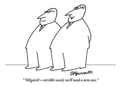 April 25th Drawing - Two Large Men Wearing Suits by Charles Barsotti