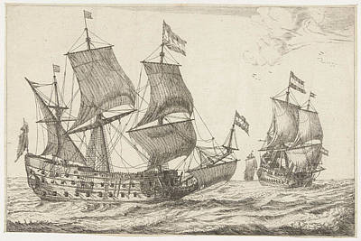 Mirror Drawing - Two Large Warships, Print Maker Anonymous by Anonymous And Reinier Nooms