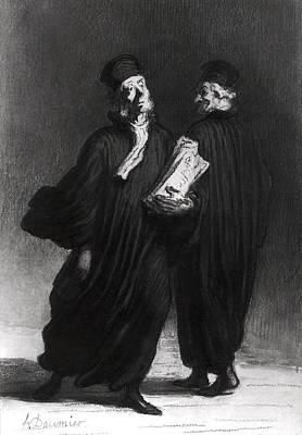 Two Lawyers, C.1862 Watercolour & Pencil On Paper Bw Photo Art Print