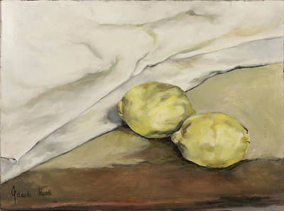 Table Cloth Painting - Two Lemons by Jolante Hesse