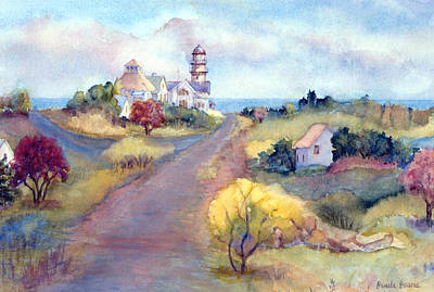 New England Lighthouse Painting - Two Lights In Cape Elizabeth Maine by Pamela Parsons