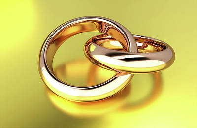Wedding Ring Photograph - Two Linked Gold Rings by Wladimir Bulgar