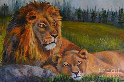 Painting - Two Lions by Jana Baker