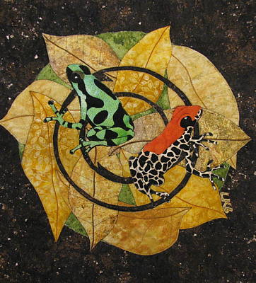 Frogs Tapestries - Textiles Tapestry - Textile - Two Little Beauties by Lynda K Boardman
