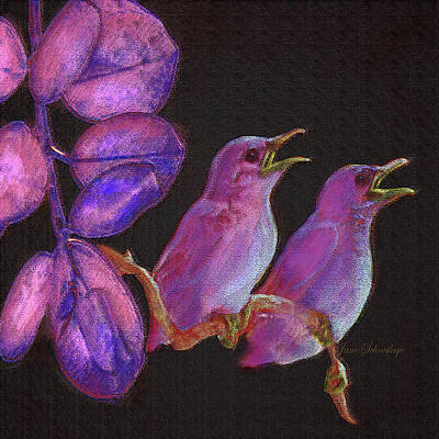 Digital Art - Two Little Birds In Pink by Jane Schnetlage