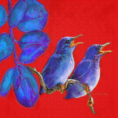 Digital Art - Two Little Birds In Red by Jane Schnetlage