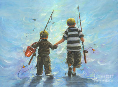 Two Little Boys Painting - Two Little Boys Going Fishing by Vickie Wade