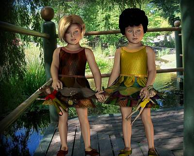 Digital Art - Two Little Girls by Nancy Pauling