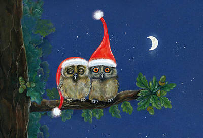 two little owls with Christmas caps Art Print by Marina Durante
