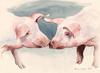 Piglets Painting - Two Little Piggies by Alison Cooper
