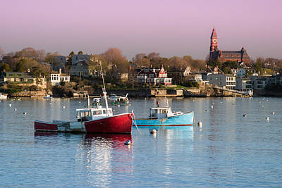 New England Ocean Photograph - Two Lobster Boats On Marblehead Harbor With A Red Sky by Jeff Folger