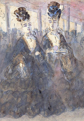 Women Together Painting - Two Lorettes At The Theater by Constantin Guys