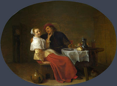Painting - Two Lovers At Table by Hendrick Sorgh