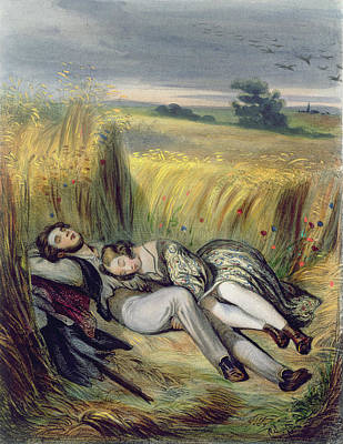 Sunset Drawing - Two Lovers Lying In A Cornfield by French School
