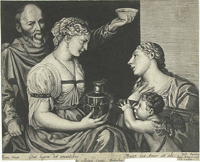 Boethius Drawing - Two Lovers With Cupid And Venus, Print Maker Hendrick by Hendrick Danckerts And Titiaan