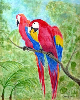 Painting - Two Macaws by Barbie Corbett-Newmin