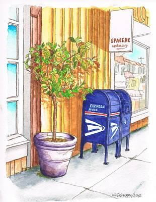 Santa Monica Painting - Two Mail Boxes And A Tree In-santa Monica - California by Carlos G Groppa
