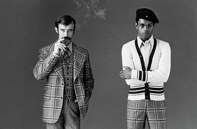 Photograph - Two Male Models Wearing 1970s Style Clothing by Bill Cahill