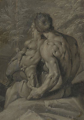 Grisaille Painting - Two Male Nudes Cornelis Cornelisz Van Haarlem by Litz Collection