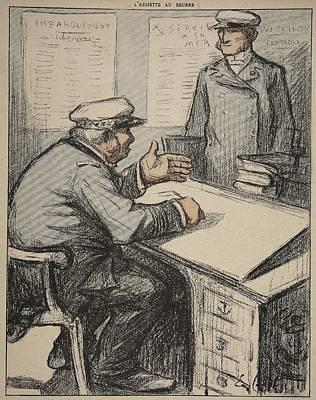 Cartoon Drawing - Two Maritime Gentlemen by Eugene Cadel