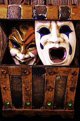 Treasure Box Photograph - Two Masks In Box by Garry Gay