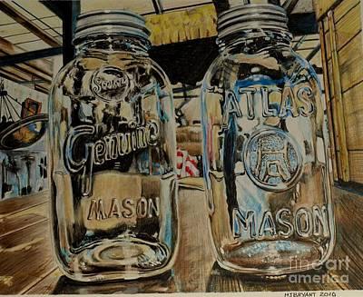 Two Mason Jars Art Print by Jackie Bryant