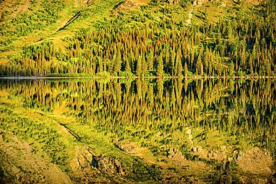 Schwarz Photograph - Two Medicine Lake Reflection, Glacier by Rona Schwarz