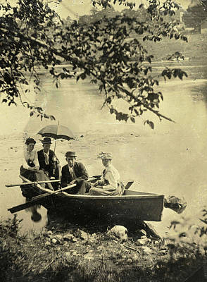 Two Men And Two Women In A Rowboat On A Lake Art Print