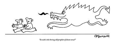 Drawing - Two Men Are Chased By A Demonic Monster by Charles Barsotti