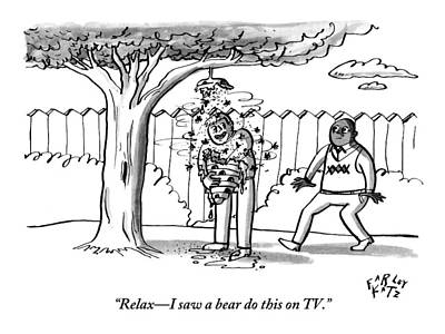 Tv Drawing - Two Men Are Seen In A Backyard by Farley Katz