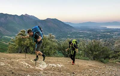 Wasatch Wall Art - Photograph - Two Men Hike Towards Utahs Lone Peak by Ben Girardi