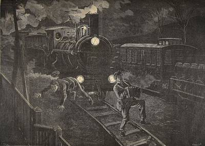 Playing Drawing - Two Men Hit By A Train Illustration by French School