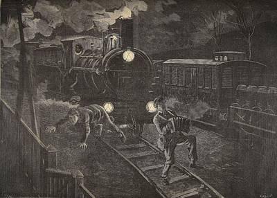 Two Men Hit By A Train Illustration Art Print