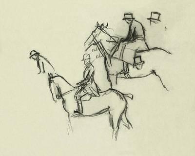 Space Jockey Digital Art - Two Men Horse Riding by Carl Oscar August Erickson